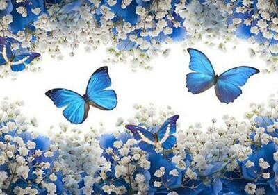 Blue Butterflies - Full Drill Diamond Painting - Specially ordered for you. Delivery is approximately 4 - 6 weeks.