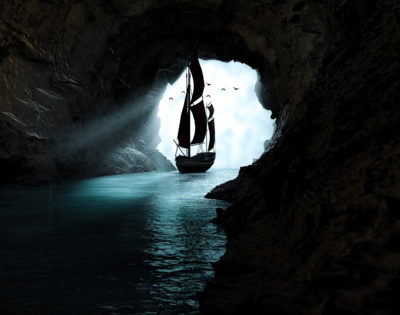 Boat Leaving Cave - Full Drill Diamond Painting - Specially ordered for you. Delivery is approximately 4 - 6 weeks.