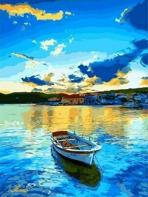 Boat on a lake - Full Drill Diamond Painting - Specially ordered for you. Delivery is approximately 4 - 6 weeks.