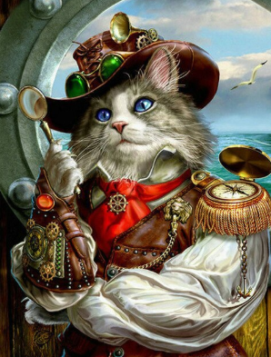 Cat At Sea - Full Drill Diamond Painting - Specially ordered for you. Delivery is approximately 4 - 6 weeks.