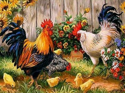 Chickens  - Full Drill Diamond Painting - Specially ordered for you. Delivery is approximately 4 - 6 weeks.