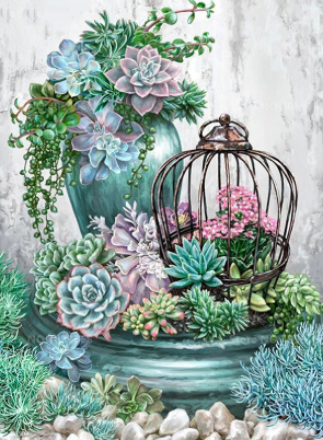 Cactus Garden - Full Drill Diamond Painting - Specially ordered for you. Delivery is approximately 4 - 6 weeks.
