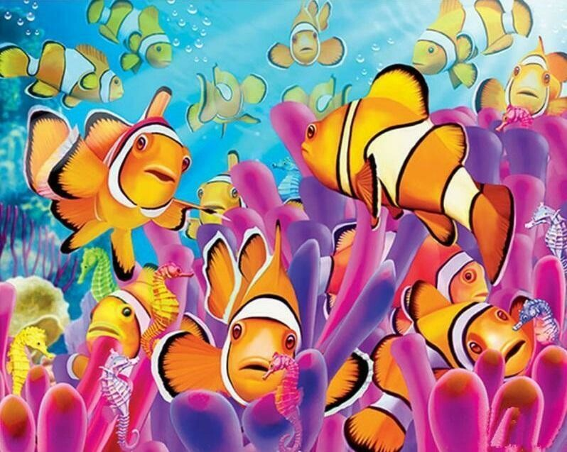 Colourful Fish   - Full Drill Diamond Painting - Specially ordered for you. Delivery is approximately 4 - 6 weeks.