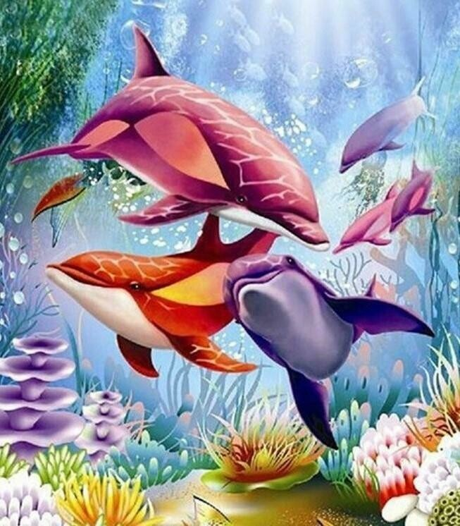 Colourful Dolphins   - Full Drill Diamond Painting - Specially ordered for you. Delivery is approximately 4 - 6 weeks.