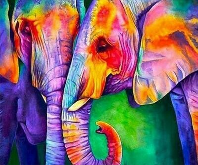 Colourful Pair Of Elephants - Full Drill Diamond Painting - Specially ordered for you. Delivery is approximately 4 - 6 weeks.