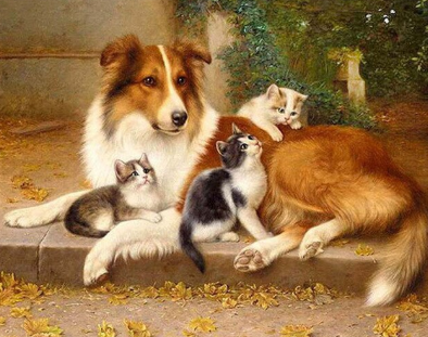 Dog And Cats - Full Drill Diamond Painting - Specially ordered for you. Delivery is approximately 4 - 6 weeks.