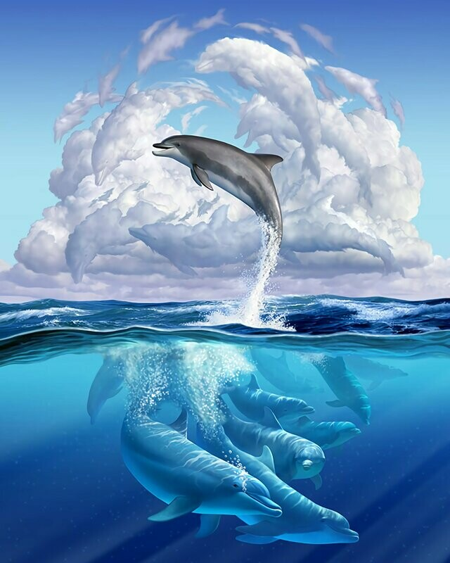 Dolphin 04 - Full Drill Diamond Painting - Specially ordered for you. Delivery is approximately 4 - 6 weeks.