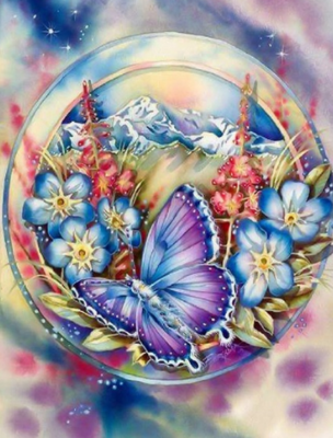 Butterfly And Flowers - Full Drill Diamond Painting - Specially ordered for you. Delivery is approximately 4 - 6 weeks.