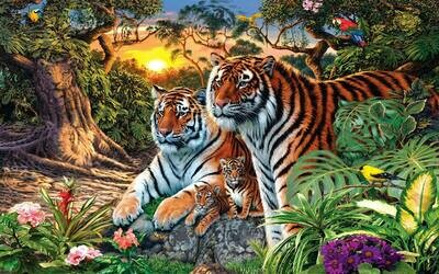 Brown Tiger Family - Full Drill Diamond Painting - Specially ordered for you. Delivery is approximately 4 - 6 weeks.