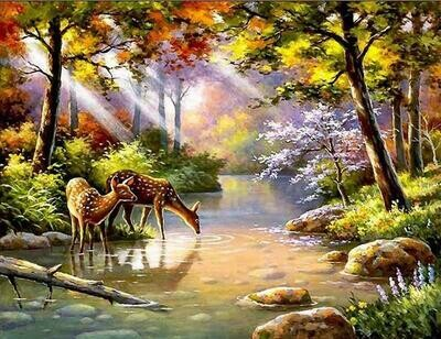 Deer Forest - Full Drill Diamond Painting - Specially ordered for you. Delivery is approximately 4 - 6 weeks.