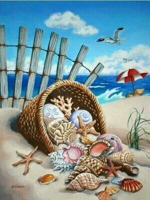 Basket of Shells- Full Drill Diamond Painting - Specially ordered for you. Delivery is approximately 4 - 6 weeks.
