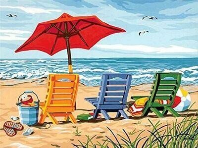 Beach Chairs - Full Drill Diamond Painting - Specially ordered for you. Delivery is approximately 4 - 6 weeks.