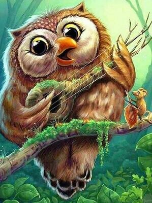 Banjo Playing Owl - Full Drill Diamond Painting - Specially ordered for you. Delivery is approximately 4 - 6 weeks.