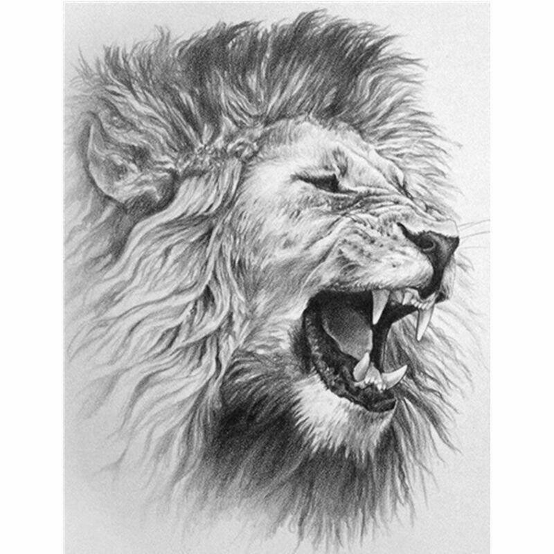 Black And White Lion - Full Drill Diamond Painting - Specially ordered for you. Delivery is approximately 4 - 6 weeks.