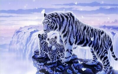 Black And White Tiger with Cubs - Full Drill Diamond Painting - Specially ordered for you. Delivery is approximately 4 - 6 weeks.