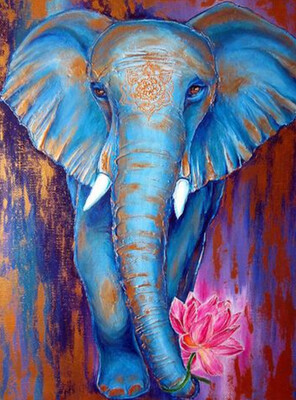 Blue Elephant - 30 x 40cm Full Drill (round) Diamond Painting Kit - Currently in stock