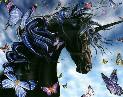 Black Unicorn with Butterflies - Full Drill Diamond Painting - Specially ordered for you. Delivery is approximately 4 - 6 weeks.