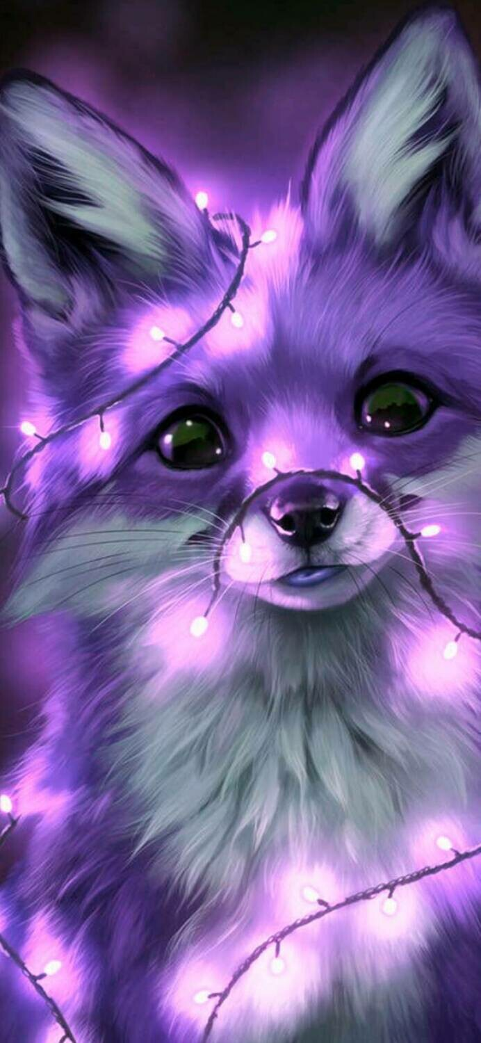 Fox with Purple Lights - Full Drill Diamond Painting - Specially ordered for you. Delivery is approximately 4 - 6 weeks.