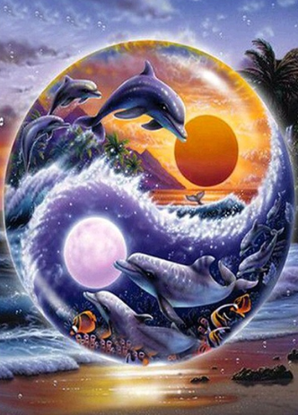 Dolphins 06  - Full Drill Diamond Painting - Specially ordered for you. Delivery is approximately 4 - 6 weeks.