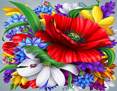 Flowers 13 - Full Drill Diamond Painting - Specially ordered for you. Delivery is approximately 4 - 6 weeks.