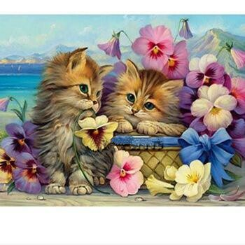 Flowers And Cats - Full Drill Diamond Painting - Specially ordered for you. Delivery is approximately 4 - 6 weeks.