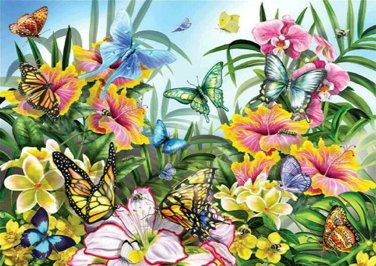 Flowers and Butterflies 03 - Full Drill Diamond Painting - Specially ordered for you. Delivery is approximately 4 - 6 weeks.