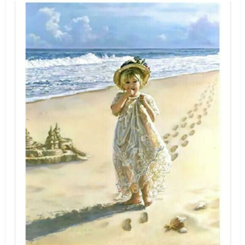 Girl On Beach - Full Drill Diamond Painting - Specially ordered for you. Delivery is approximately 4 - 6 weeks.
