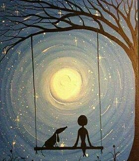 Girl And Dog On Swing - Full Drill Diamond Painting - Specially ordered for you. Delivery is approximately 4 - 6 weeks.