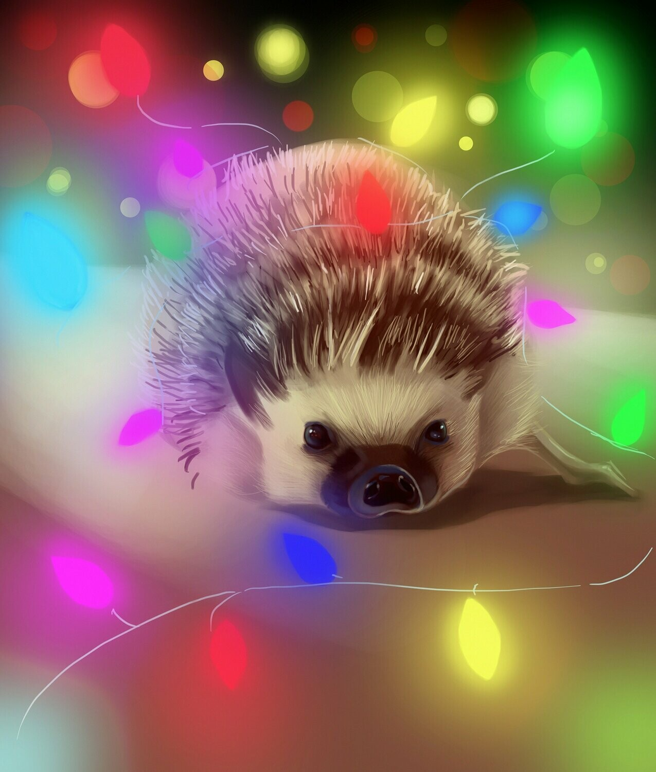 Hedgehog Fairy Lights - Full Drill Diamond Painting - Specially ordered for you. Delivery is approximately 4 - 6 weeks.