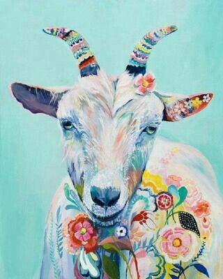 Hippy Goat - Full Drill Diamond Painting - Specially ordered for you. Delivery is approximately 4 - 6 weeks.