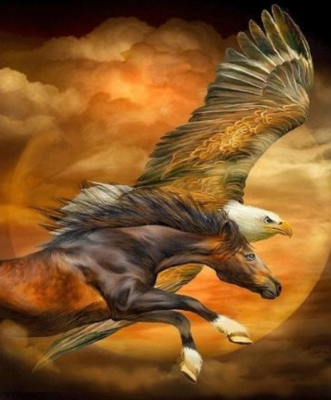 Horse Eagle Sky - Full Drill Diamond Painting - Specially ordered for you. Delivery is approximately 4 - 6 weeks.