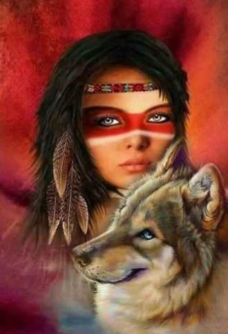 Lady and Wolf - Full Drill Diamond Painting - Specially ordered for you. Delivery is approximately 4 - 6 weeks.