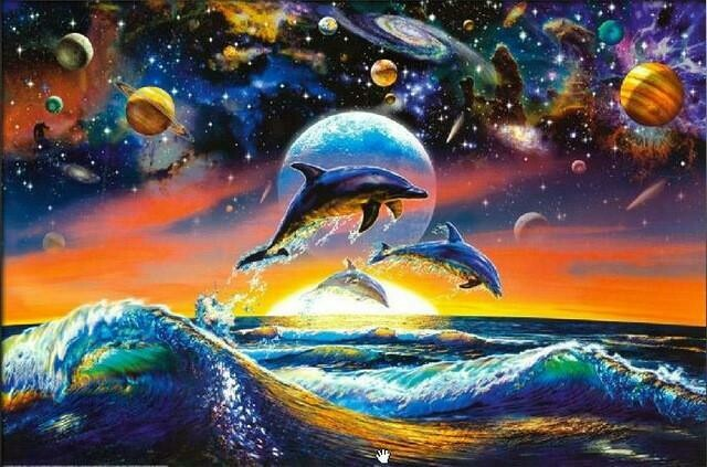 Dolphins And Planets - Full Drill Diamond Painting - Specially ordered for you. Delivery is approximately 4 - 6 weeks.