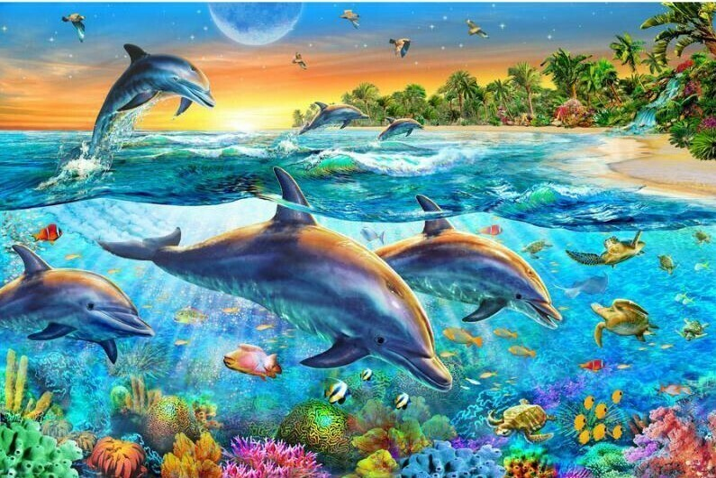 Dolphins Underwater World - Full Drill Diamond Painting - Specially ordered for you. Delivery is approximately 4 - 6 weeks.