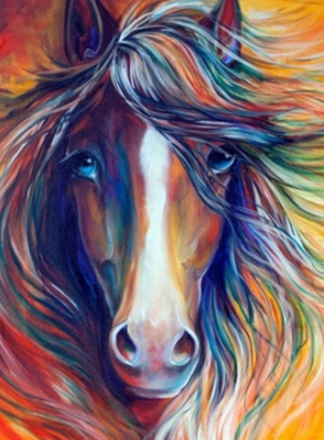 Multicoloured Horse - Full Drill Diamond Painting - Specially ordered for you. Delivery is approximately 4 - 6 weeks.