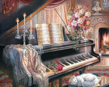 Piano and Roses - Full Drill Diamond Painting - Specially ordered for you. Delivery is approximately 4 - 6 weeks.