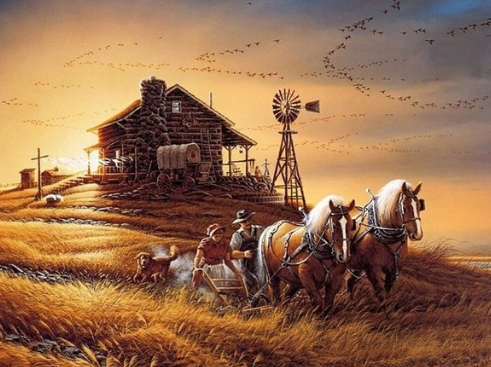 Old Farm Scenery  - Full Drill Diamond Painting - Specially ordered for you. Delivery is approximately 4 - 6 weeks.