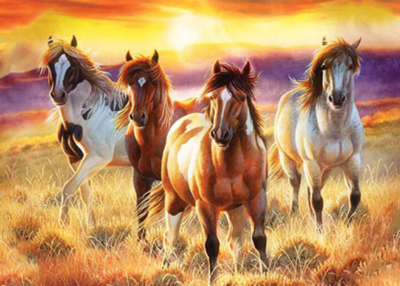 Four Horses - Full Drill Diamond Painting - Specially ordered for you. Delivery is approximately 4 - 6 weeks.