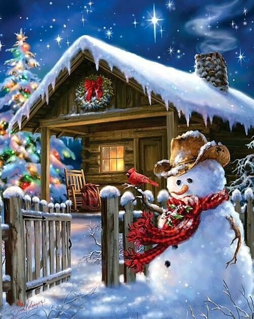 Log Cabin Snowman - Full Drill Diamond Painting - Specially ordered for you. Delivery is approximately 4 - 6 weeks.