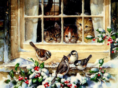 Kittens And Birds  - Full Drill Diamond Painting - Specially ordered for you. Delivery is approximately 4 - 6 weeks.