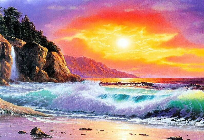 Ocean Sunset - Full Drill Diamond Painting - Specially ordered for you. Delivery is approximately 4 - 6 weeks.