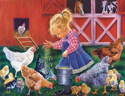 Feeding The Chickens- Full Drill Diamond Painting - Specially ordered for you. Delivery is approximately 4 - 6 weeks.