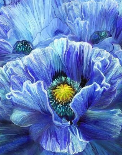 Flowers In Blue Painting - Full Drill Diamond Painting - Specially ordered for you. Delivery is approximately 4 - 6 weeks.