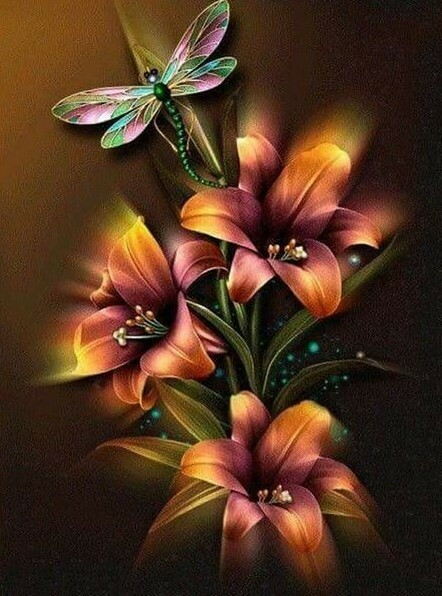 Dragonfly Lillys  - Full Drill Diamond Painting - Specially ordered for you. Delivery is approximately 4 - 6 weeks.