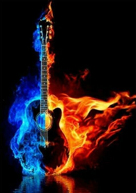Guitar In Flames - Full Drill Diamond Painting - Specially ordered for you. Delivery is approximately 4 - 6 weeks.