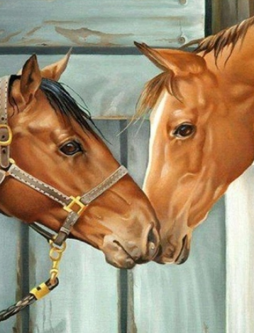 Horsey Nuzzle - Full Drill Diamond Painting - Specially ordered for you. Delivery is approximately 4 - 6 weeks.