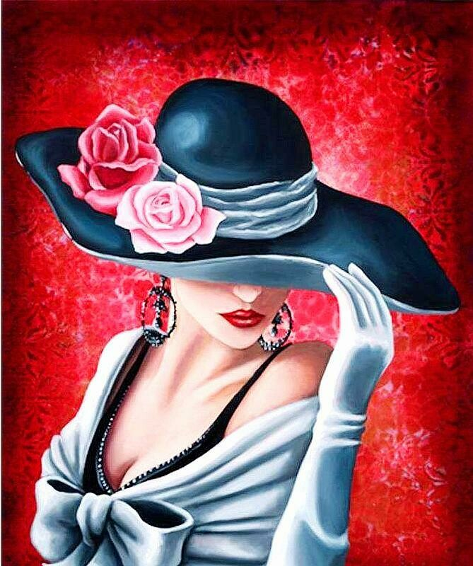 Lady in Black Hat - Full Drill Diamond Painting - Specially ordered for you. Delivery is approximately 4 - 6 weeks.