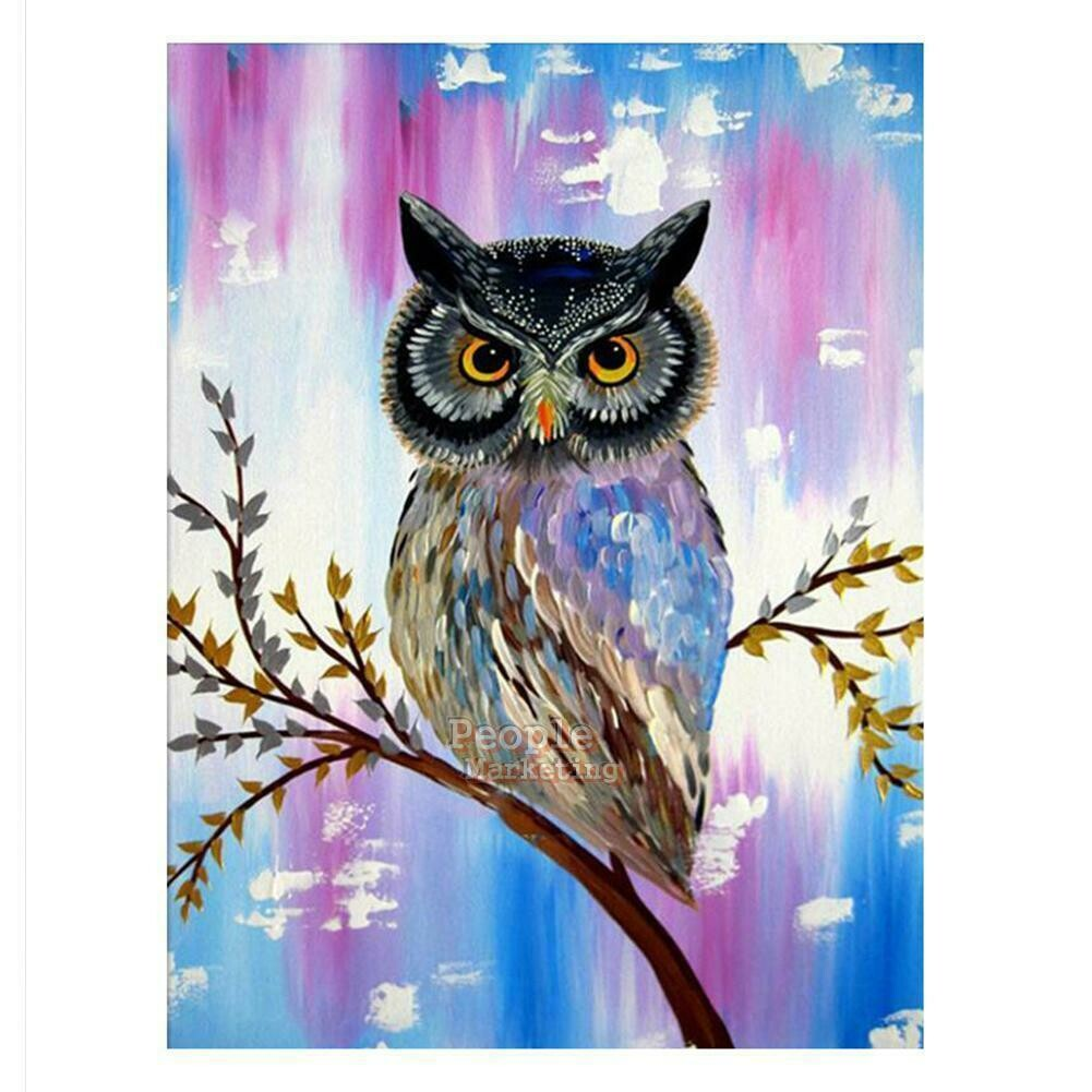 Owl Pink Blue Background - Full Drill Diamond Painting - Specially ordered for you. Delivery is approximately 4 - 6 weeks.