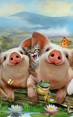 Piggy Farm Selfie - Full Drill Diamond Painting - Specially ordered for you. Delivery is approximately 4 - 6 weeks.