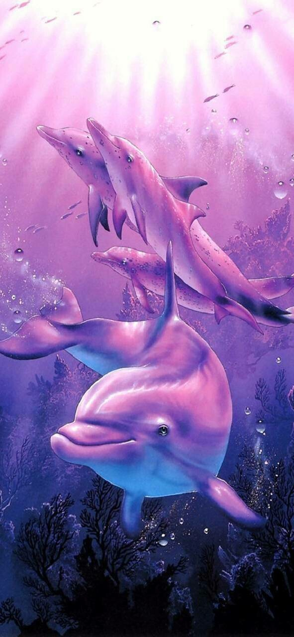 Purple Dolphins - Full Drill Diamond Painting - Specially ordered for you. Delivery is approximately 4 - 6 weeks.